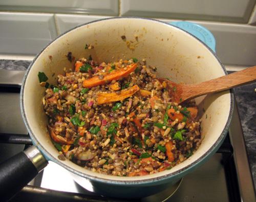 Warm Lentil Salad with Sunflower Seeds & Roasted Root Vegetables